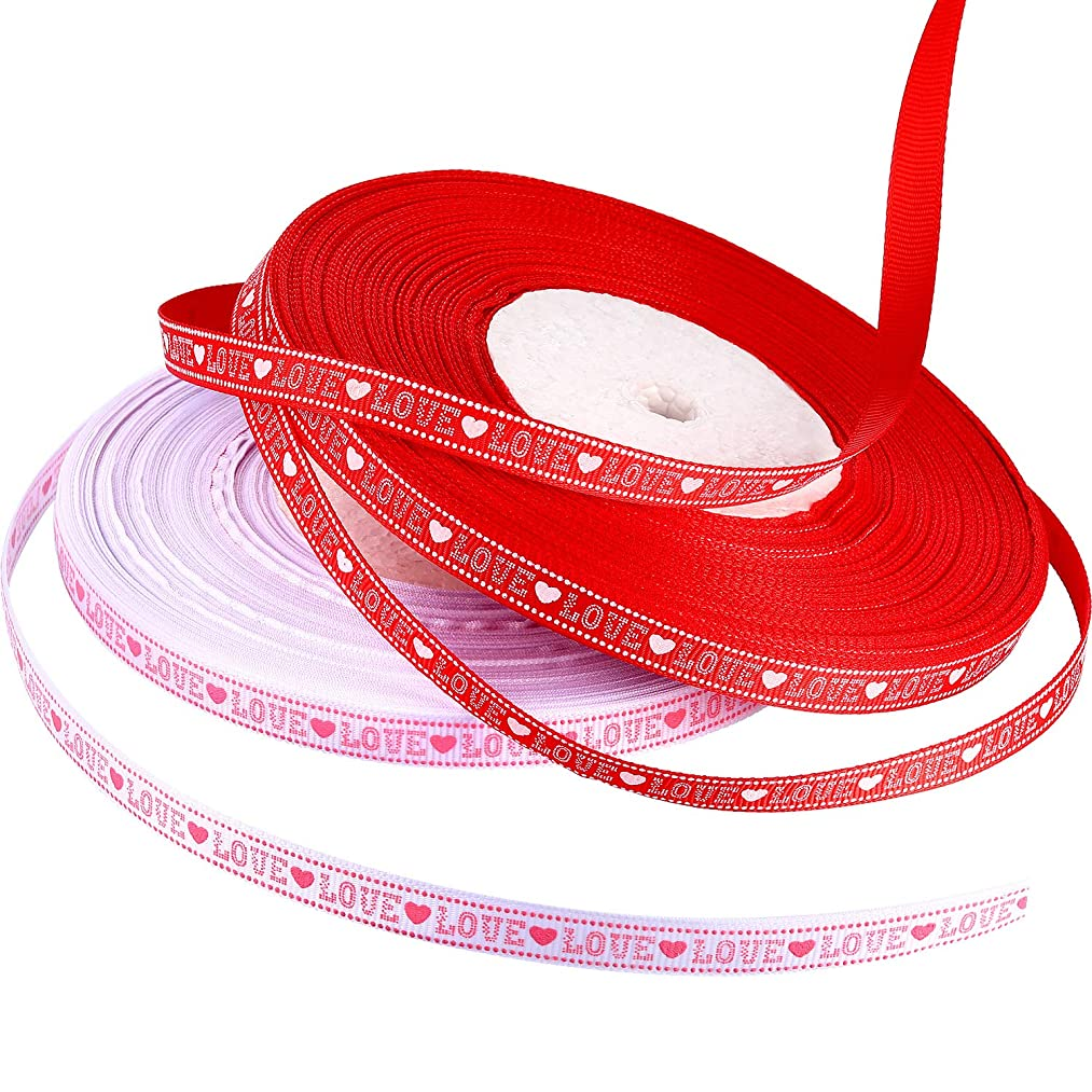 Chengu 3/8 Inch Valentine's Day Grosgrain Ribbon 100 Yards Love Heart Printed Ribbon for Gift Package Wrapping Craft DIY Decorations (Red and Pink with White)