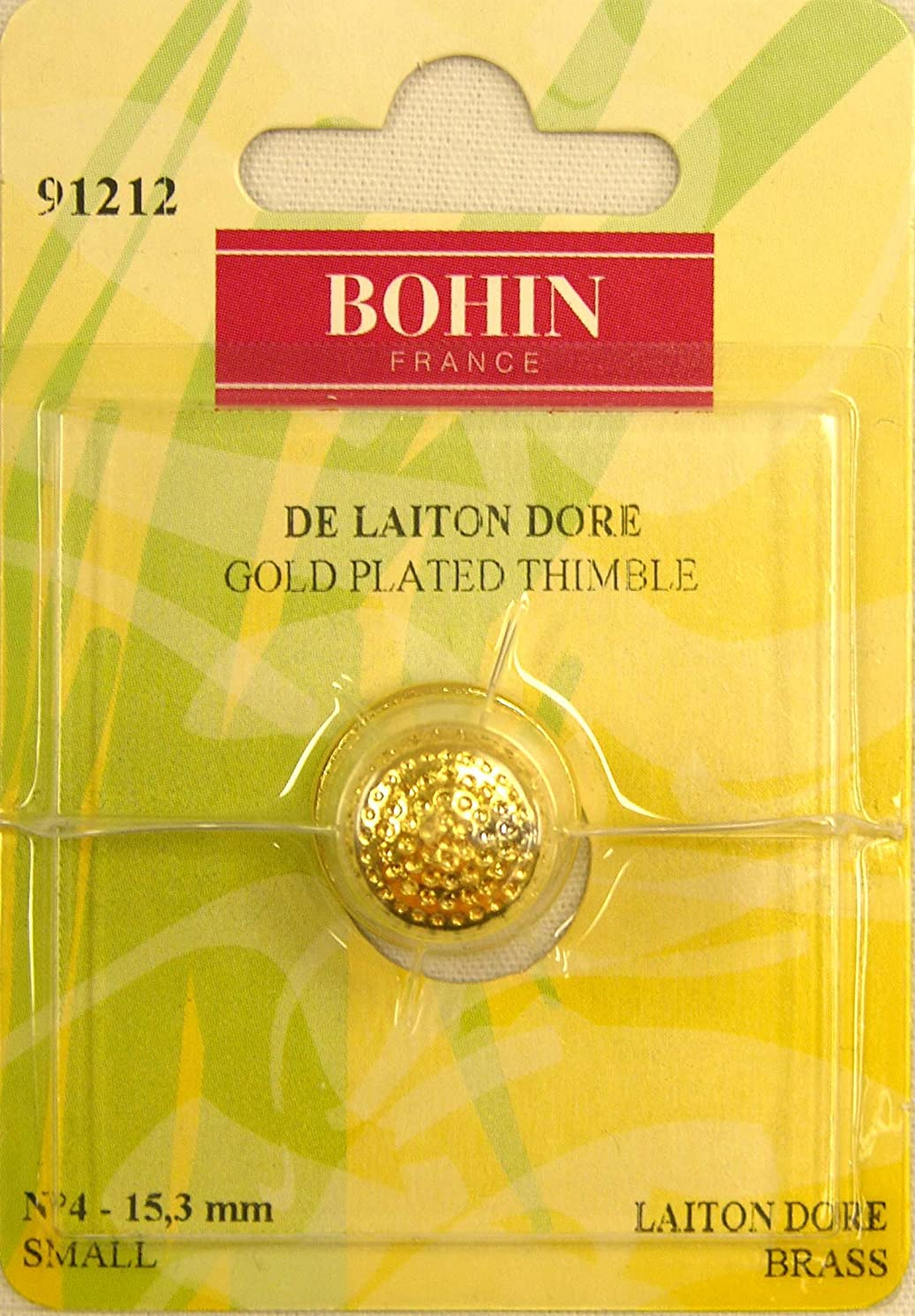 Bohin Gold Plated Brass Thimble Small, White