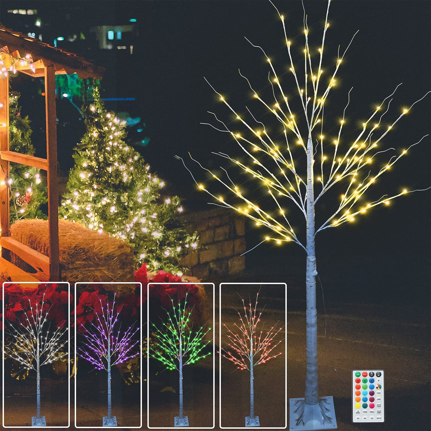 120 LED 6FT Colorful Lighted Birch Tree, Light Up Multicolored LED Artificial Tree with Colors Changing String Lights for Indoor Outdoor Christmas Halloween Party Home Wedding Garden Decor-6ft(RGB)