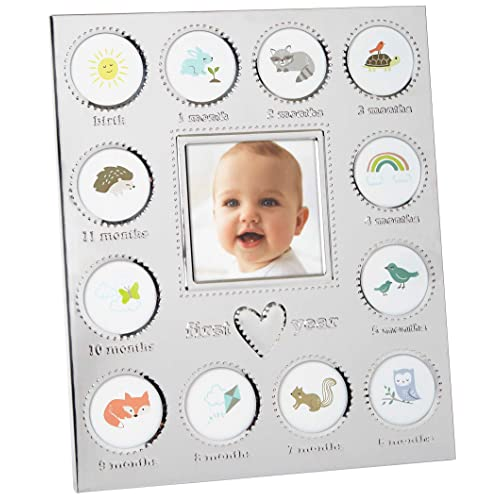"""Carter's Baby's First Year Animal Theme Silver Metal Month by Month Picture Frame, 9.75"""" L x 11.75"""" H"""