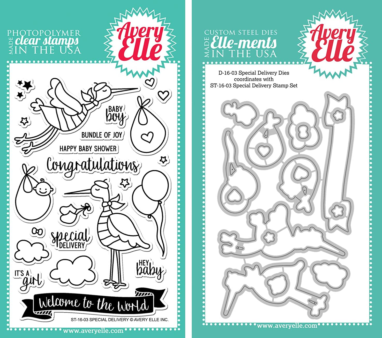 Avery Elle Special Delivery Stamps and Elle-ments Dies Bundle