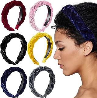6 Pieces Velvet Braided Headband Flock Padded Wide Velvet Braided Hair Hoop for Women and Girls
