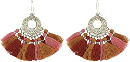 Pendant Earrings with Multicolored Tassels