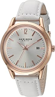 Akribos Xxiv Dress Watch Analog Display Japanese Quartz Movement For Women Ak921Wt, Silver Band, Leather Strap