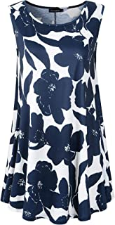 Veranee Women's Sleeveless Swing Tunic Summer Floral...