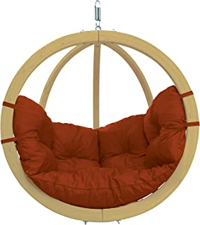 Byer of Maine Globo Chair, Treated Wood Construction, Indoors and Outdoors, Natural Spruce Wood, Agora Outdoor Fabric Cushion, Single Person,Terracotta Ago, 48