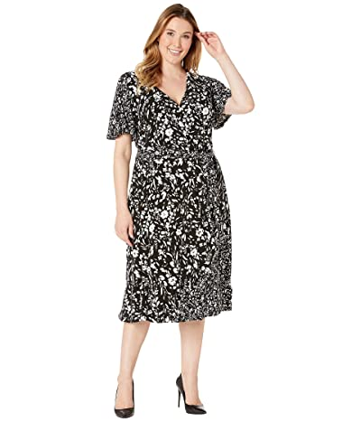 LAUREN Ralph Lauren Plus Size Dalta Dress (Black/Colonial Cream) Women