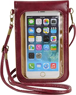 Little Cellphone Purse with Touch Screen Clear Window Travel Crossbody Bag for iPhone 11 Pro Max, XS Max, Galaxy S10 Plus ...