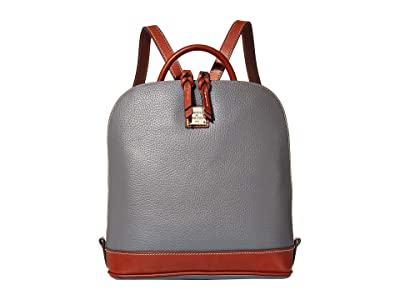 Dooney & Bourke Pebble Zip Pod Backpack (Slate/Tan Trim) Backpack Bags