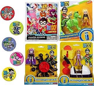 Go Hero Go Super Teen Titans Figure Playset Party Magic Attack Raven Bundled with Pizza Starfire / Beast Boy & Terra Adventure Cartoon Character Toy + Blind Backpack hanger 4 Items & Bonus Stickers