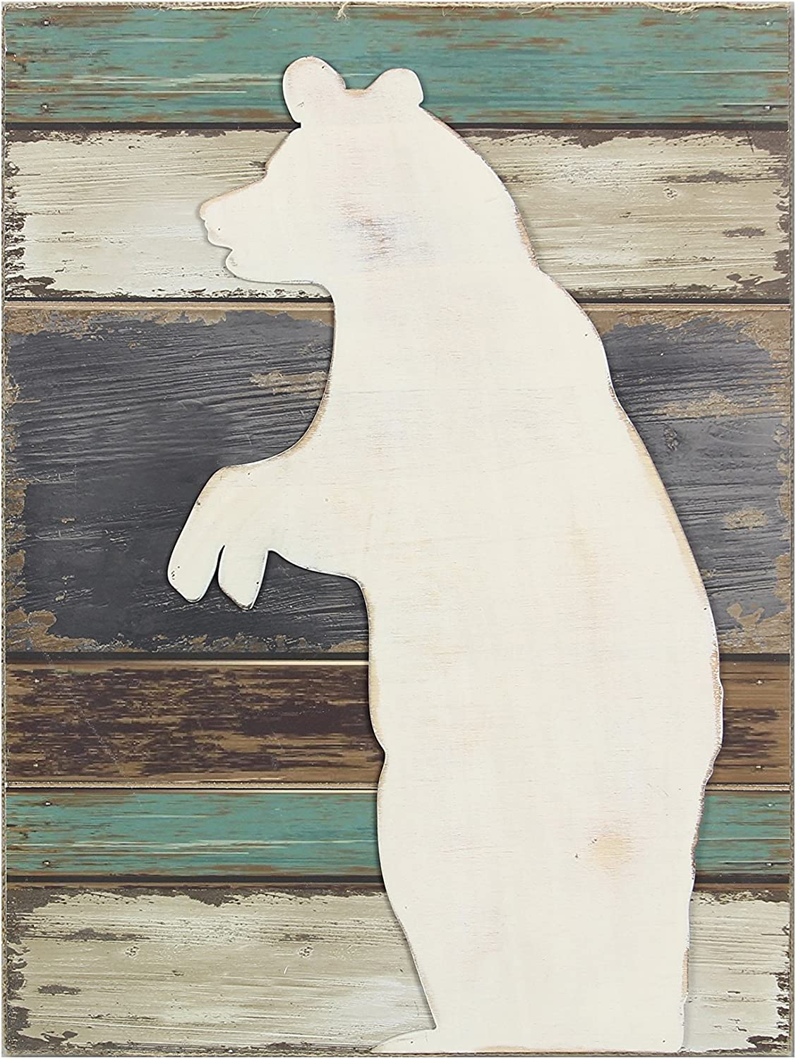 Young's Wood Bear Wall Decorative Sign, 15.75-Inch x 11.75-Inch x 1.5-Inch