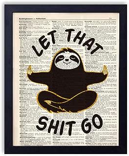 yuzi-n Yoga Sloth Vintage Book Art Print - Funny Sloth Meditation Cushion Gifts Decor - Sloth Gifts - Funny Yoga Gifts - 8x10 Unframed