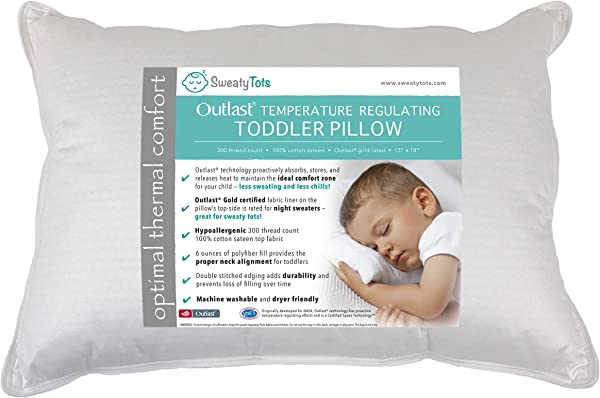 Toddler Pillow For Hot Or Sweaty Sleepers 13 X 18 White 300TC Cotton Sateen Features Outlast R Temperature Regulating Technology To Reduce Overheating Mid Loft