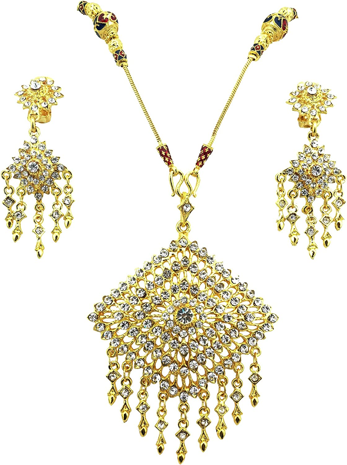 Siwalai Thai Traditional Sukhothai Style Gold Plated Clear Crystals Necklace Earrings Jewelry Set 24