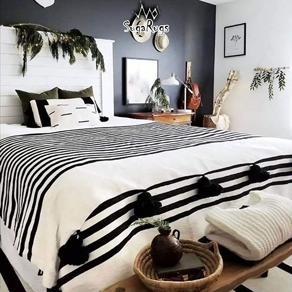 SugaRugs Moroccan Pom Pom Blanket Throw for Sofa or Bed - Hand Woven Coton - Reversible - Small, Medium, Large in White & Black Stripes and Large Black Pom Pom (Large - 78 in x 118 in)