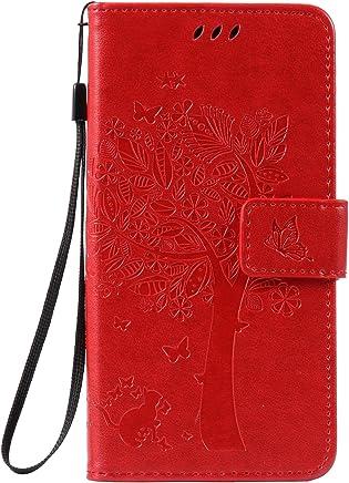 Anlike Huawei Enjoy 5 / Y6 Pro (5,0 Zoll) H�lle, Katzen Baum Muster PU Leder Flip-Case / Brieftasche / Wallet Etui /Lederh�lle / Handy Schutzh�lle / Bookstyle Cover / Handy Zubeh�r / Lederh�lle / Hand