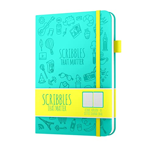 Dotted Journal by Scribbles That Matter - Create Your Own Unique Life Organizer - No Bleed A5 Hardcover Dotted Notebook - Inner Pocket - Fountain Pens Friendly Paper - Iconic Version - Teal
