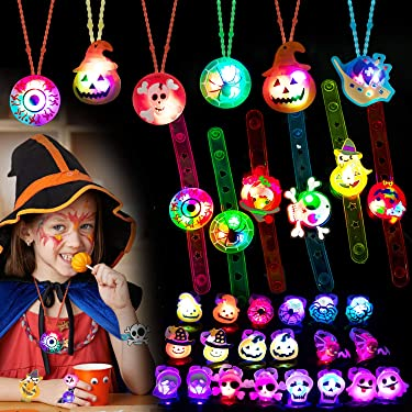 Halloween Party Favors for Kids-Light Up Halloween Toys Glow Rings Necklaces Bracelets 32 Pack Halloween LED Toys Necklaces Bracelets Rings Glow in the Dark Party Supplies for Halloween Decorations Party Games Gift