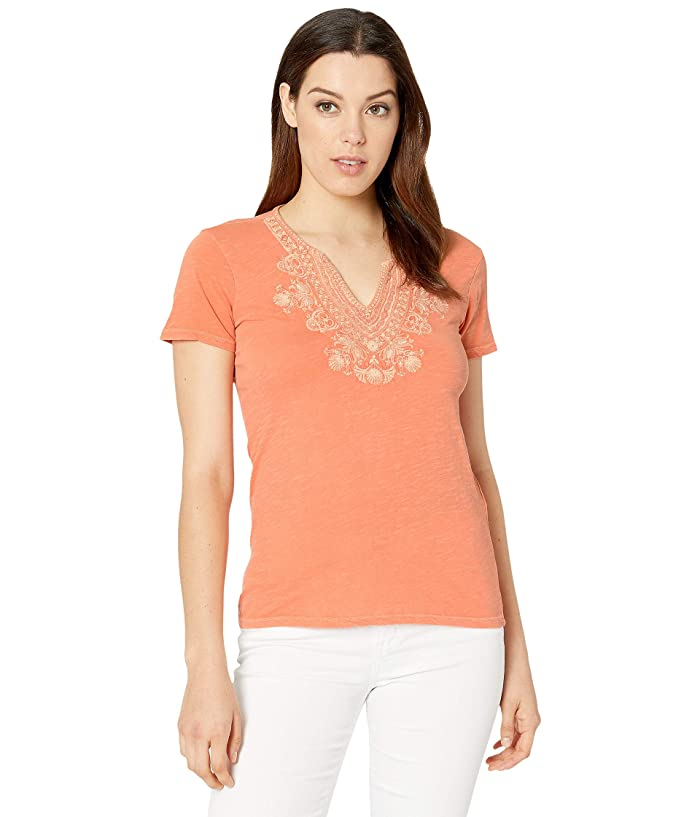 Lucky Brand  Short Sleeve Embroidered V-Neck Tee (Persimmon) Womens Clothing