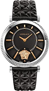 Women's V-Helix Black Dial Leather Watch, Model: VQG020015
