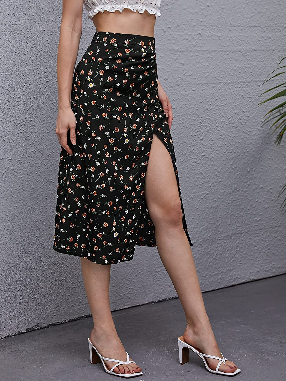 Milumia Women's Boho Ditsy Floral Print High Slit Skirt High Waist Midi Skirt