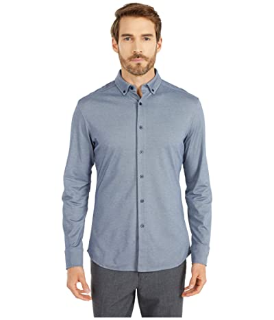 Vince Camuto Pique Knit Sport Shirt (Navy/White Mix) Men