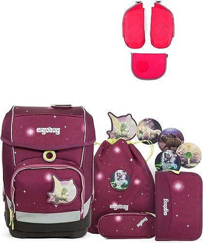 Ergobag Cubo FeenzauB Special Edition Schulrucksack-Set 5tlg + Seitentaschen ZIP-Set Rosa