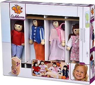 Simba Eichhorn 100002500 - Puppenset Familie, Puppenarme und Beine sind beweglich, 4-tlg., aus Eichenholz