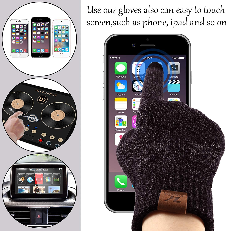 Winter Beanie Hat Scarf Touch Screen Gloves 3-Piece Winter Warm Clothing Set