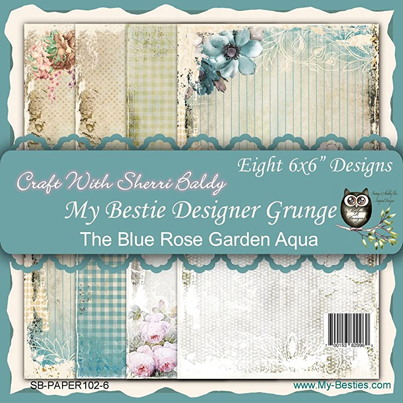 My-Besties Single Sided Paper, 6 x 6, Blue Rose Garden Aqua