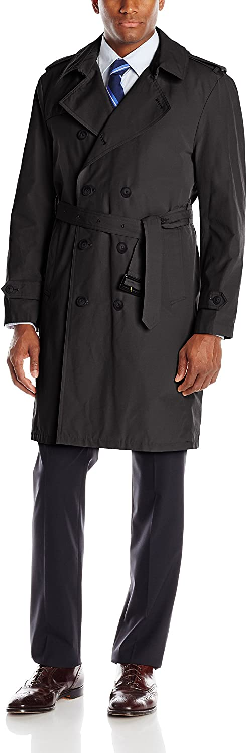 Stacy Adams Men's Rain Double-Breasted Full-Length Trench Coat