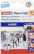 tesa Powerstrips (Large, Doppelseitige Klebestreifen zur Montage von Gegenständen auf glatten Oberflächen, bis zu 2kg Halteleistung)10er Pack Powerstrips