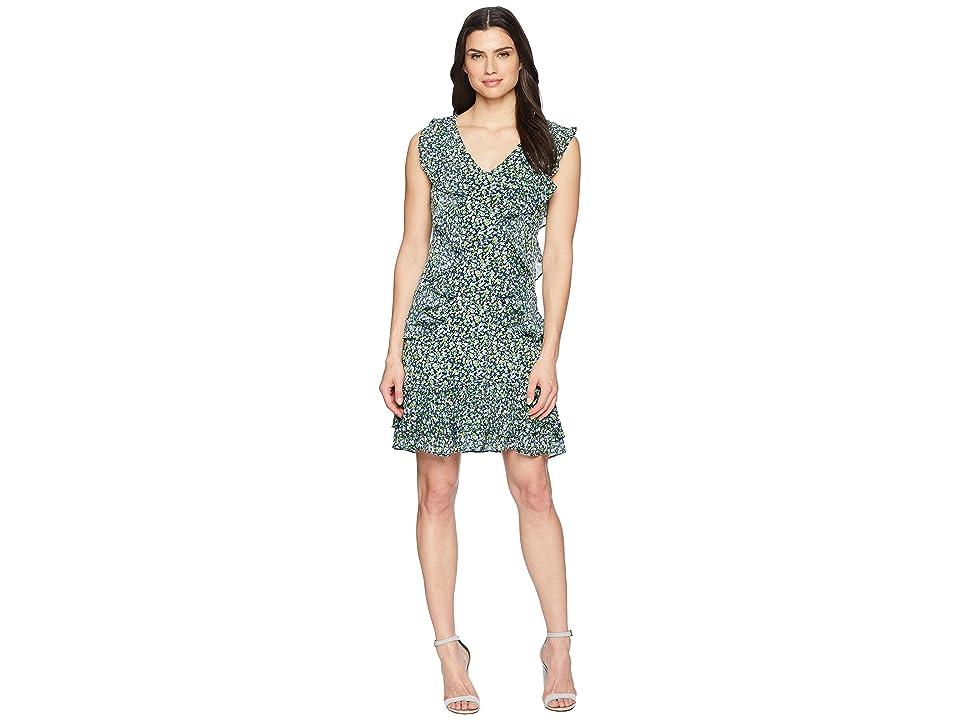 MICHAEL Michael Kors Wildflower Cascade Dress (True Navy/Green Apple Multi) Women