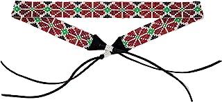 Mayan Arts 帽子バンド 帽子バンド ウェスタンカウボーイ カウガールビーズハットバンド ブルー レザー 7/8インチ x 21インチ ピンク