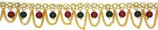 Aashya Mayro Baahubali Inspired CZ Diamond Stone Colorful Beads Studded Golden Chain Adjustable Kamarband Waist Band for W...