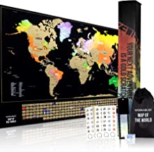 Scratch Off Map of The World with States and Country Flags - Beautiful 17 X 24 World Map Poster - Premium Wall Art for Travel Fans