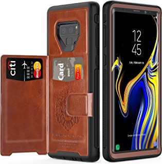Samsung Galaxy Note 9 Case with Card Holders,SXTech (Leather case Series) Slim Yet Protective with Kickstand.Built-in Magnetic Backing and Shorkproof Cover Fit for Note 9 (2018) Wallet Case-Brown …