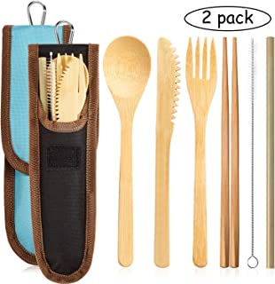 2 Sets Bamboo Cutlery Flatware Set Bamboo Travel Utensils Set Include Reusable Bamboo Fork, Knife, Spoon, Chopsticks, Straw, Cleaning Brush (Color Set 1)