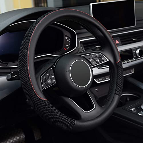 KAFEEK Steering Wheel Cover, Universal 15 inch, Microfiber Leather Viscose, Breathable, Anti-Slip,Warm in Winter and ...