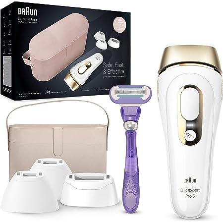 Braun - Silkexpert pro 5 pl5347 depiladora luz pulsada ipl, depilación permanente del vello visible, mujer y hombre, blanco/dorado