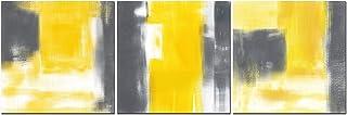 CUFUN Art - Peinture Abstraite Gris et Jaune d'art Abstrait sur Le décor de Mur de Toile pour la Maison Salon Bureau 30x30...