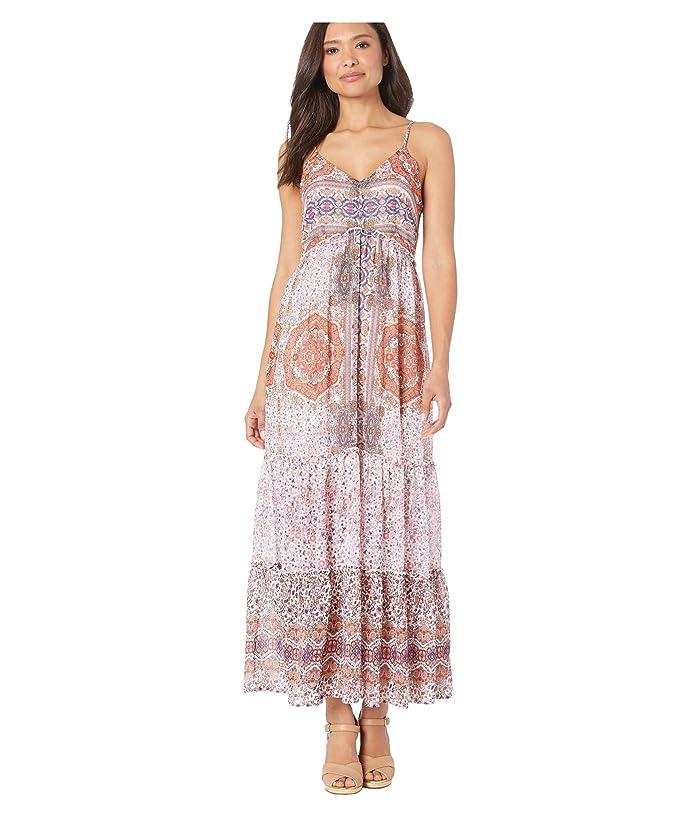 Wrangler  Western Patchwork Chiffon Maxi Dress (White/Rust/Blue) Womens Clothing