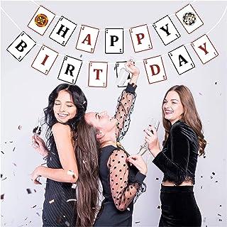 Casino Birthday Banner, Premium Poker Happy Birthday Banners for Casino Night