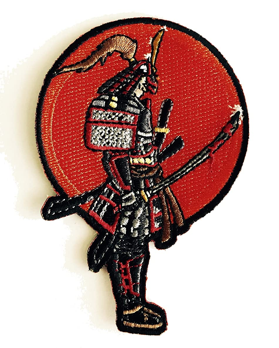 Japanese Warrior Samurai with Bloody Sword - Iron on Embroidered Patch Applique