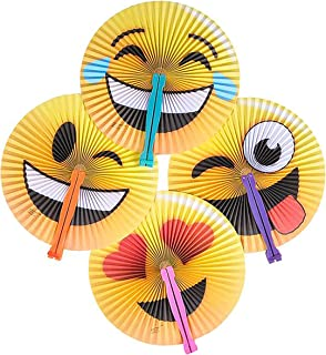 Rhode Island Novelty 10 Inch Emoji Style Foldable Paper Fans (Pack of 12)