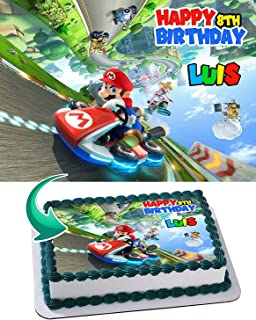 Mario Kart 8 Deluxe Edible Image Cake Topper Party Personalized 1/4 Sheet