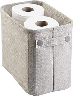 mDesign support papier toilette en coton – porte papier wc élégant – panier de rangement pour les serviettes et les journa...