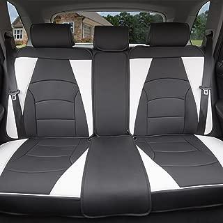 FH Group PU205013WHITEBLACK White/Black-Bench PU205WHITEBLACK013 Ultra Comfort Leatherette Rear Seat Cushions