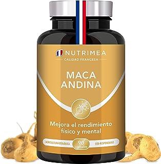 Maca Pura Andina Ecológica, 100% Natural, Aumenta Energía, 3 cápsulas al día 1500 mg, 90 Capsulas Vegetales, Hombres y Mujeres, Estimulador Natural, Fabricado en Francia