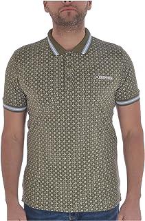 Lambretta Mens Geometric AOP Cotton Polo Shirt - Olive - S